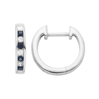 14k White Gold 1/10 Carat T.W. Diamond & Sapphire Hoop Earrings