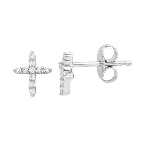 14k White Gold 1/8 Carat T.W. Diamond Cross Stud Earrings