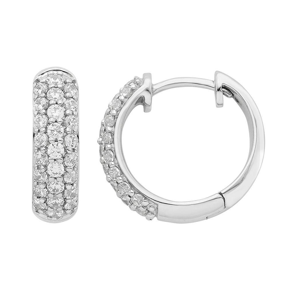 14k White Gold 1/2 Carat T.W. Diamond Hoop Earrings