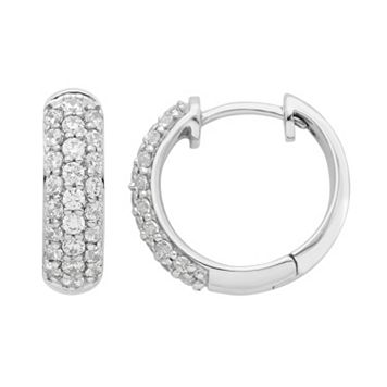 14k White Gold 1/2 Carat T.W. Diamond Hoop Earrings
