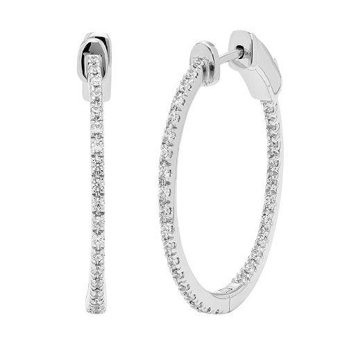 14k White Gold 1/3 Carat T.W. Diamond Inside-Out Hoop Earrings