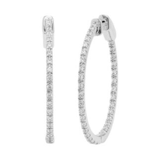 14k White Gold 5/8 Carat T.W. Diamond Inside-Out Hoop Earrings