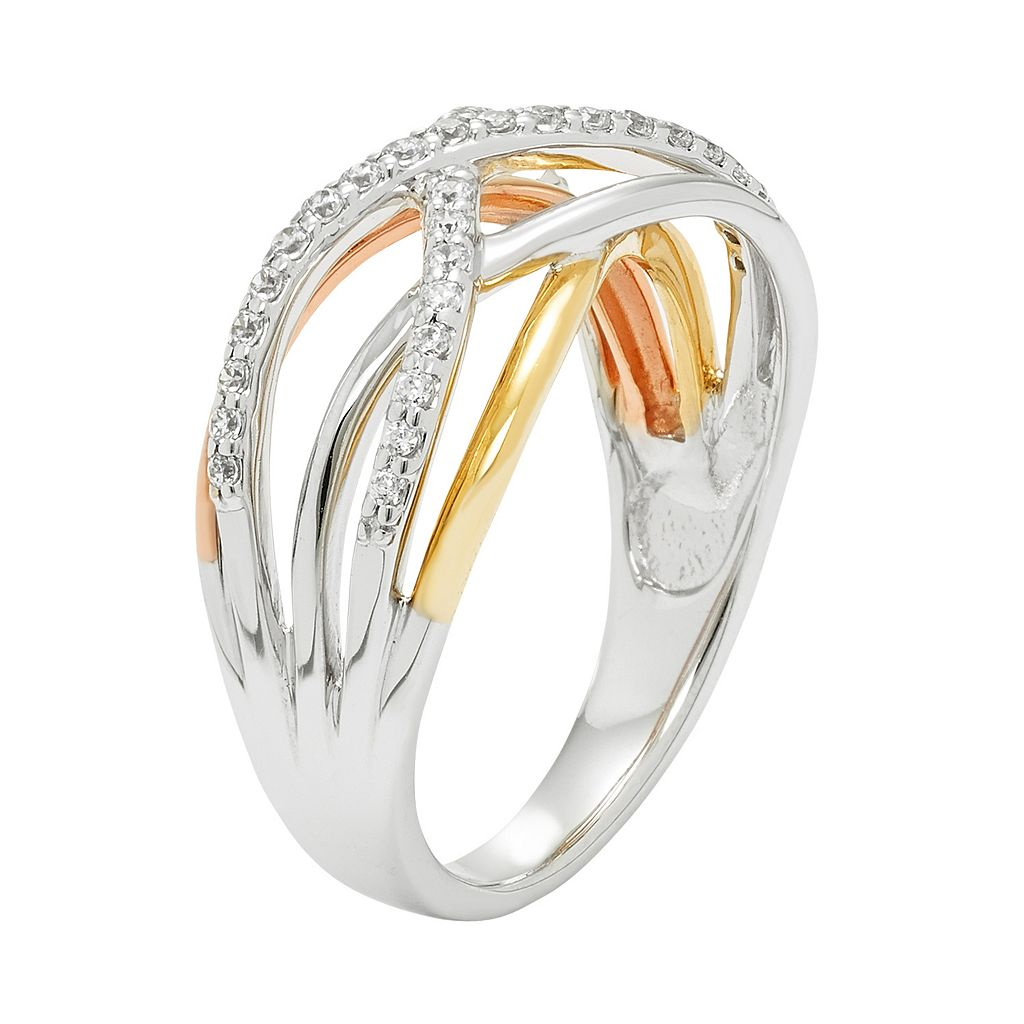 Tri-Tone 14k Gold 1/4 Carat T.W. Diamond Woven Ring