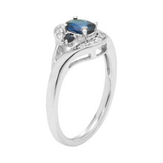 14k White Gold Sapphire & Diamond Accent Ring