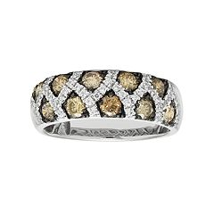 14k White Gold 1 1/6 Carat T.W. Brown & White Diamond Crisscross Ring