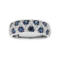 14k White Gold Sapphire & 1/3 Carat T.W. Diamond Crisscross Ring