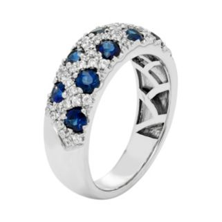 14k White Gold Sapphire & 1/3 Carat T.W. Diamond Crisscross Ring