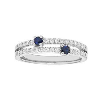 14k White Gold Sapphire & 1/3 Carat T.W. Diamond Ring