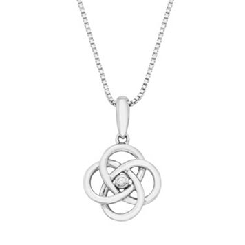 Sterling Silver Diamond Accent Celtic Knot Pendant Necklace
