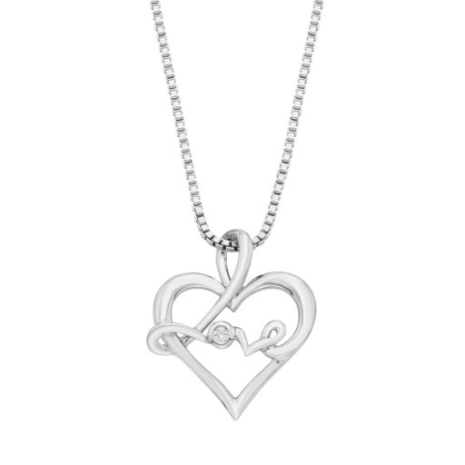 """Sterling Silver Diamond Accent """"Love"""" Heart Pendant Necklace"""