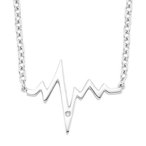 Sterling Silver Diamond Accent Heartbeat Necklace