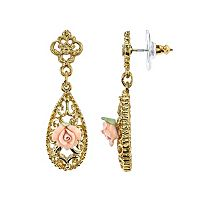 Downton Abbey Flower Filigree Teardrop Earrings