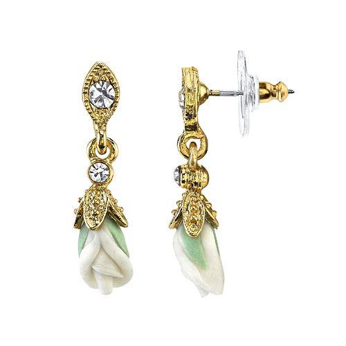 Downton Abbey Flower Drop Earrings