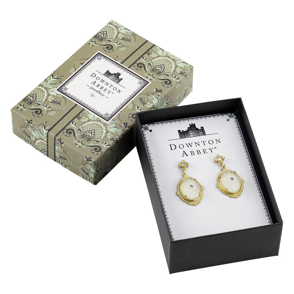 Downton Abbey Frosted Oval Drop Earrings