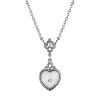 Downton Abbey Frosted Heart Filigree Necklace