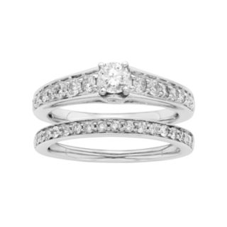 14k White Gold IGL Certified 1 Carat T.W. Diamond Engagement Ring Set