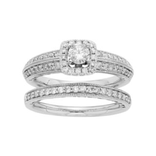 14k White Gold IGL Certified 1 Carat T.W. Diamond Halo Engagement Ring Set