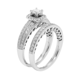 14k White Gold IGL Certified 1 Carat T.W. Diamond Halo Engagement Ring Set