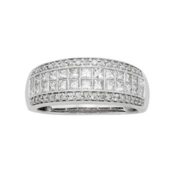 14k White Gold IGL Certified 1 Carat T.W. Diamond Multirow Engagement Ring