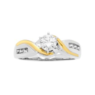 Two Tone 14k Gold 5/8 Carat T.W. IGL Certified Diamond Bypass Engagement Ring