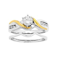 Two Tone 14k Gold 5/8 Carat T.W. IGL Certified Diamond Bypass Engagement Ring Set
