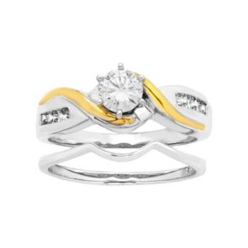 Two Tone 14k Gold 5/8 Carat T.W. IGL Certified Diamond Bypass Engagement Ring Set