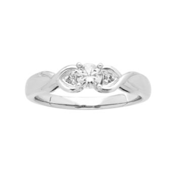 14k White Gold 1/4 Carat T.W. IGL Certified Diamond 3-Stone Engagement Ring