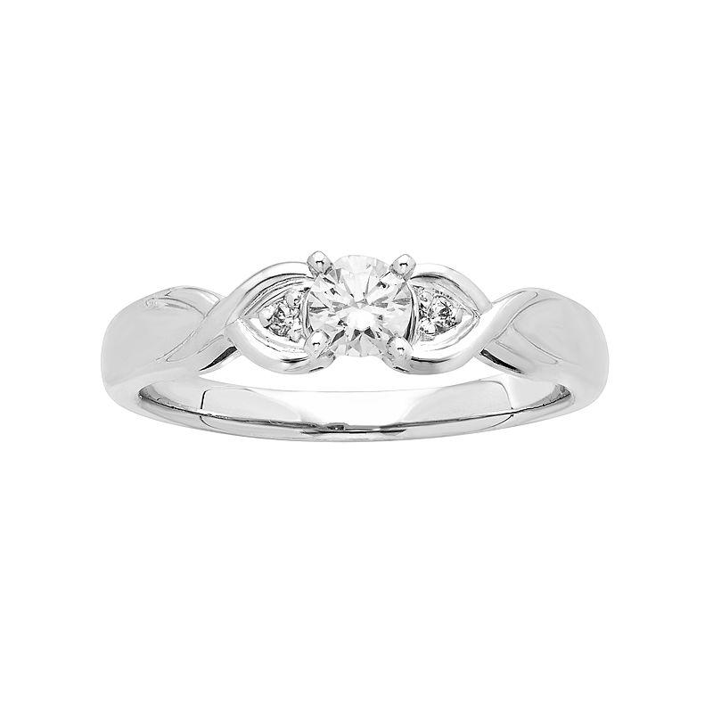 14k White Gold 1/4 Carat T.W. IGL Certified Diamond 3-Stone Engagement Ring, Women's, Size: 7.50
