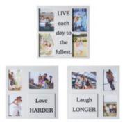 """Melannco """"Live Love Laugh"""" Sentiment Collage Frame 3-piece Set"""