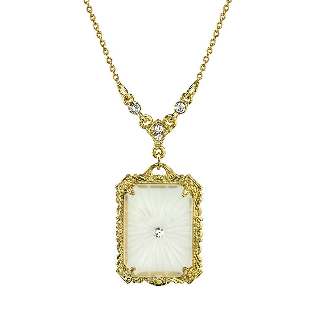 Downton Abbey Frosted Rectangle Necklace