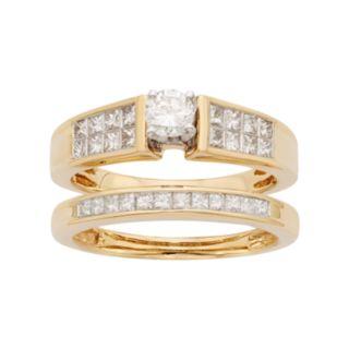 14k Gold IGL Certified 1 Carat T.W. Diamond Engagement Ring Set