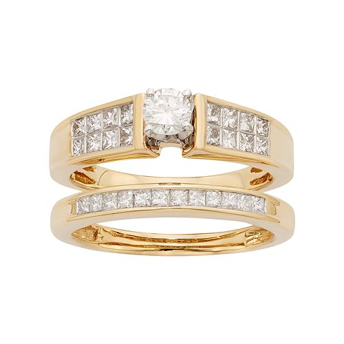 14k Gold IGL Certified 1 Carat T.W. Diamond Engagement Ring Set