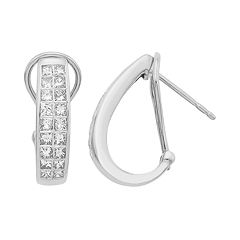 14k Gold IGL Certified 1 Carat T.W. Diamond J-Hoop Earrings