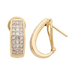 14k Gold IGL Certified 1 1/2 Carat T.W. Diamond J-Hoop Earrings