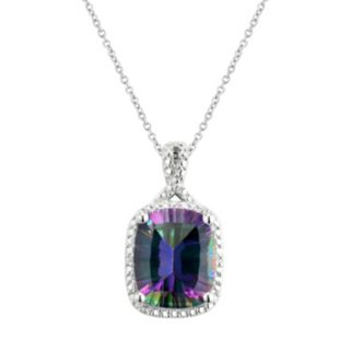 Sterling Silver Mystic Fire Topaz & Diamond Accent Halo Pendant