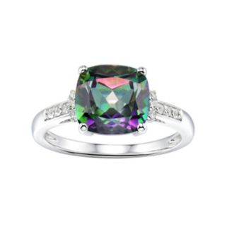 Sterling Silver Mystic Fire Topaz & Lab-Created White Sapphire Ring