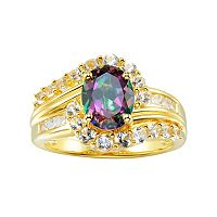 14k Gold Over Silver Mystic Fire Topaz & Lab-Created White Sapphire Swirl Ring