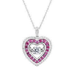 DiamonLuxe 9/10 Carat T.W. Simulated Diamond Floating Stone Heart Pendant