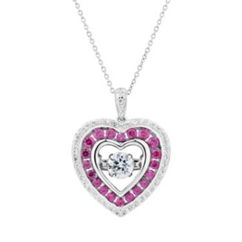DiamonLuxe 9/10 Carat T.W. Simulated Diamond Floating Stone Heart Pendant