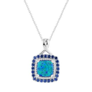 Sterling Silver Gemstone Halo Pendant Necklace