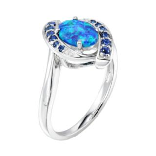 Sterling Silver Simulated Green Opal & Lab-Created Blue Sapphire Swirl Ring