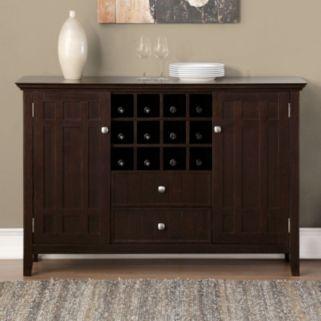 Simpli Home Bedford Sideboard Buffet & Wine Rack