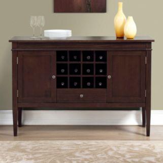 Simpli Home Carlton Sideboard Buffet & Wine Rack