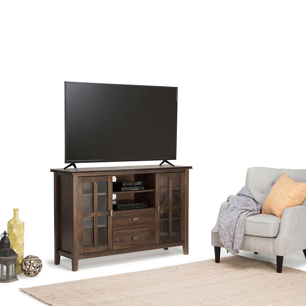 Simpli Home Artisan Tall Brown TV Stand