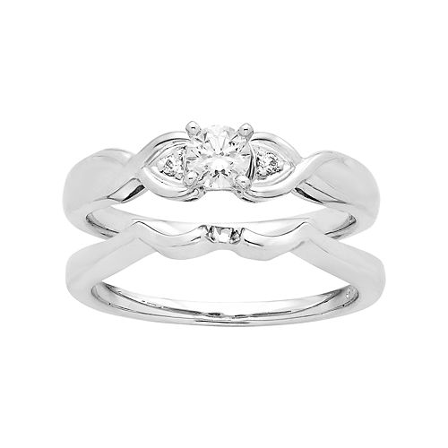 14k White Gold 1/4 Carat T.W. IGL Certified Diamond 3-Stone Engagement Ring Set