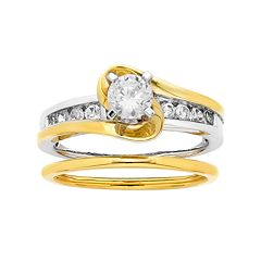 Two Tone 14k Gold 1 Carat T.W. IGL Certified Diamond Wrap Engagement Ring Set