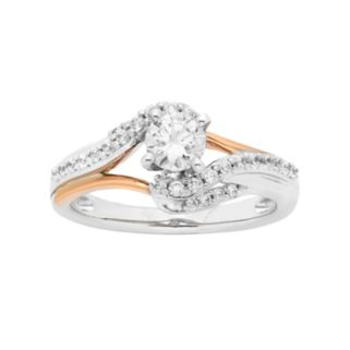 Two Tone 14k Gold 3/4 Carat T.W. IGL Certified Diamond Bypass Engagement Ring