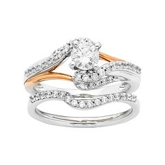 Two Tone 14k Gold 7/8 Carat T.W. IGL Certified Diamond Bypass Engagement Ring Set