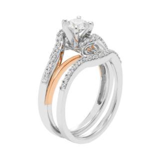 Two Tone 14k Gold 7/8 Carat T.W. IGL Certified Diamond Bypass Engagement Ring Set
