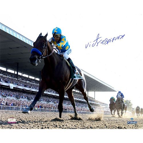 Steiner Sports Victor Espinoza Signed American Pharoah Leads The Pack 2015 Belmont 16″ x 20″ Photo